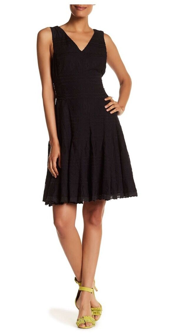 NWT Rebecca Taylor Tie Waist Embroidered Gauze Dress 2  395