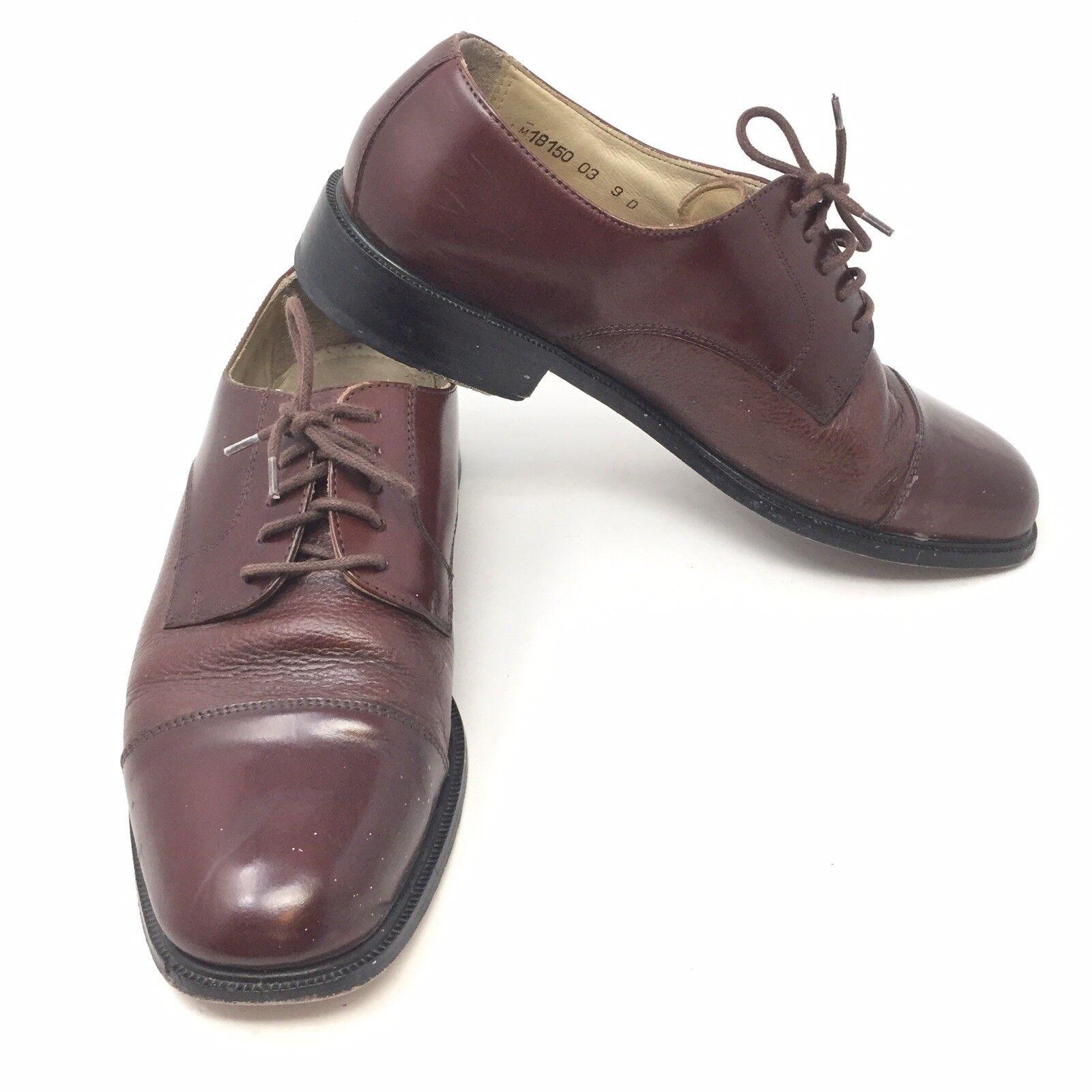Florsheim Cap Toe Oxfords Brown Leather Mens Dress Lace Up shoes Sz 9 D 1E