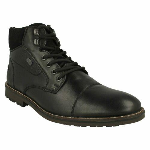 Para Hombre Rieker F5514 Cremallera Informal Botas al Tobillo de Cuero Inteligente Formal Talla De Invierno Black