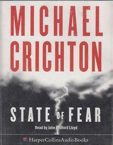 Michael-Crichton-State-Of-Fear-4-Cassette-Audio-Book-Abridged-Techno-Thriller