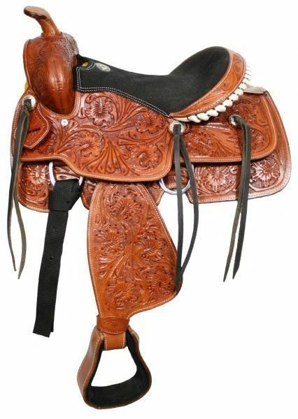 Fully tooled Double T youth saddle 13