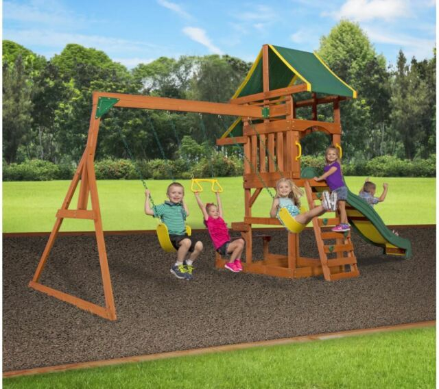 Backyard Discovery Tucson Cedar Wooden Swing Set backyard discovery cedar swing set playground outdoor playset kids