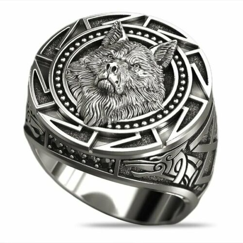 High Quality Relief Wolf Head Ring For Mens Viking Punk Rock Party Jewelry 7-13
