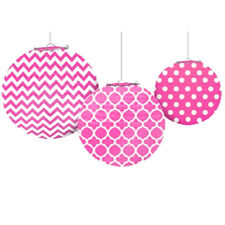 PINK QUATREFOIL POLKA DOTS CHEVRON PAPER LANTERNS (3)~ Birthday Party Supplies