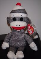 Ty Socks The Gray Sock Monkey Beanie Baby - Mint With Mint Tags
