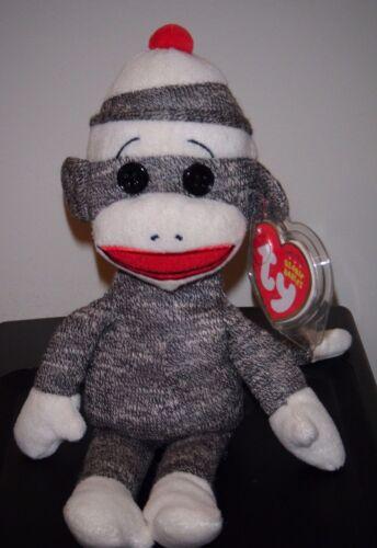 Ty SOCKS the Gray SOCK MONKEY Beanie Baby MWMT 8.5 Inch