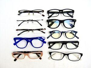 +2.00, LOT of 10 Used Reading Glasses Readers Eyeglasses, & Blue Light Blocker