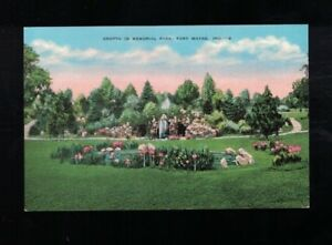 C-1940-Grotto-In-Memorial-Park-Fort-Wayne-Indiana-Postcard
