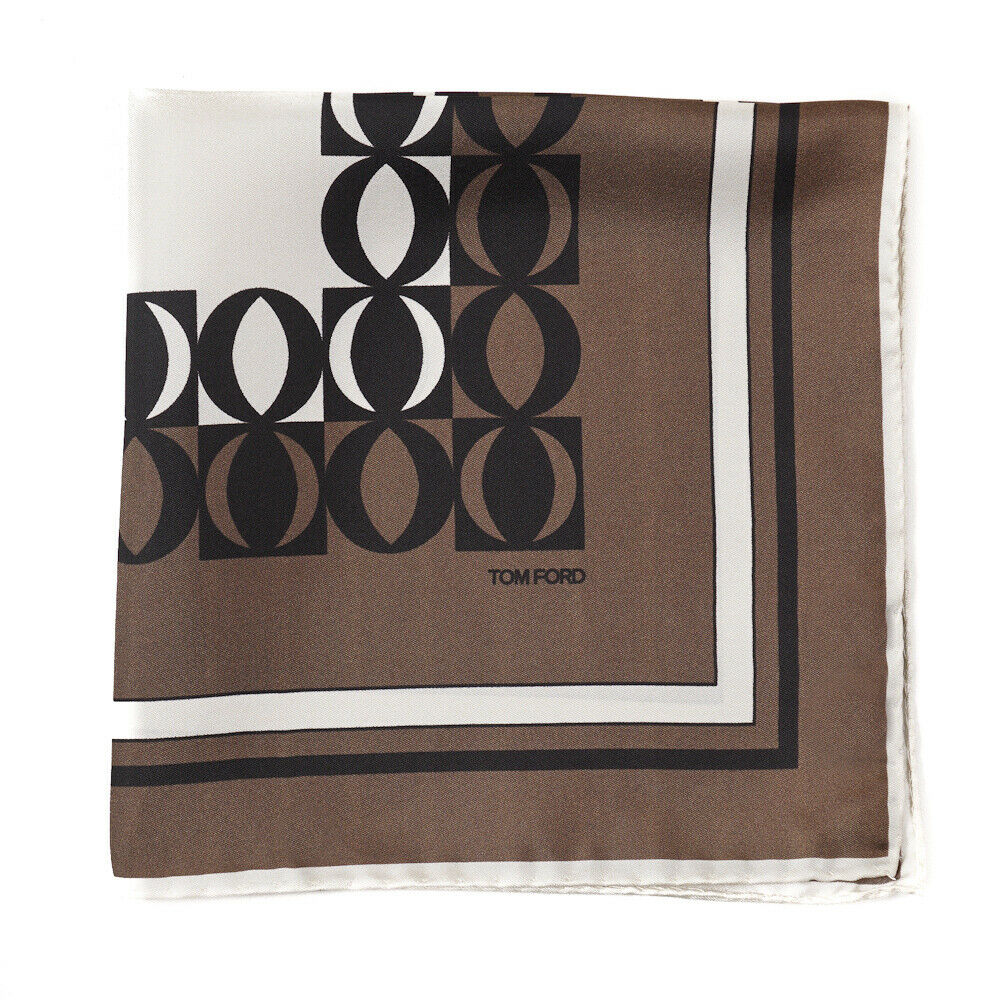 New TOM FORD Brown and Ivory Contrast Print Silk Pocket Square