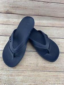 Crocs Thong Flip Flop Slip On Sandals Dark Blue Women's Size 8 W