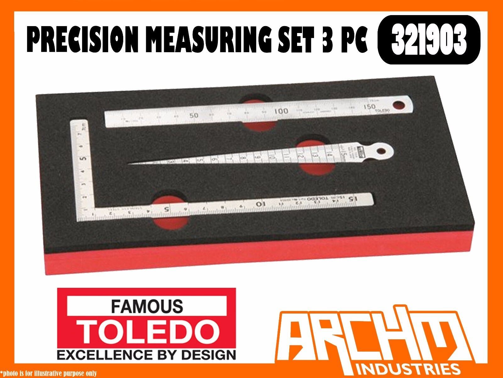 TOLEDO 321903 - PRECISION MEASURING SET - 3 PC - TAPER GAUGE MINI SQUARE RULE