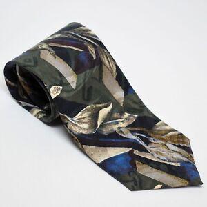 Vintage Structure Silk Necktie Floral Pattern USA Made 56 Inch Tie