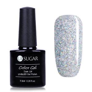 7-5ml-Soak-Off-UV-Gellack-Weiss-Glitzer-Nail-Art-Gel-Polish-Nagellack-UR-SUGAR