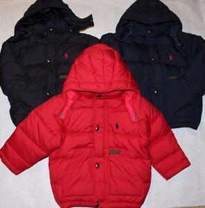 New Polo Ralph Lauren Toddler Boys Down Puffer Jacket Coat Blue Black Red 2T 3T