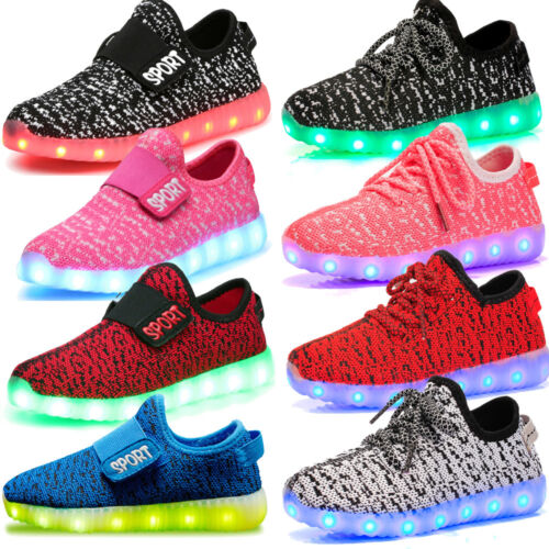 Boy Girl USB Charging Light up Luminous Sneakers Kids Casual Shoes 7 LED Colors