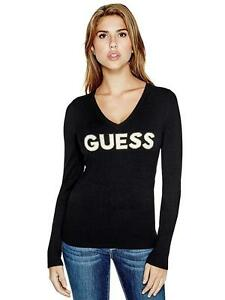 GUESS-Sweater-Jumper-Womens-Top-Logo-Knit-Sweater-Jumper-XS-Jet-Black-NWT