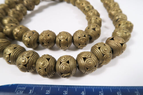 Strang 15mm Messingperlen DA1 Gelbguß Ghana Brass Beads Ashanti Akan Afrozip