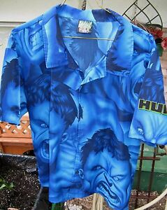 INCREDIBLE-HULK-Marvel-LG-Polyester-SS-Hawaiian-Style-Men-039-s-Shirt