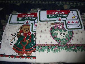 NEW NOS Holiday Butcher Apron Joy wreath or Christmas bear cotton duck kitchen