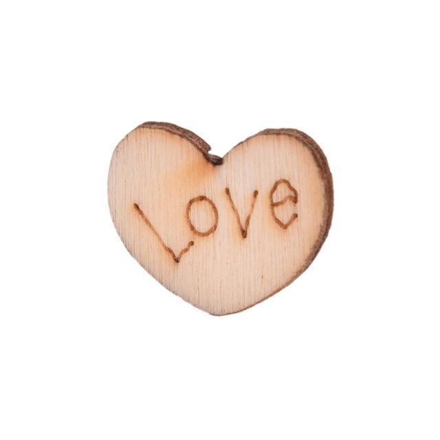 100pc Rustic Wooden Mini Love Heart Wood Wedding Craft Embellishment