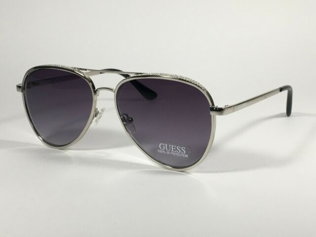 NEW Silver metal aviator with purple lens sunglasses
