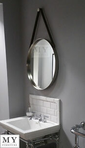 Image Is Loading Large Bathroom Round Wall Mirror With Leather Strap