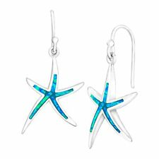 Created Blue Opal Starfish Drop Earrings in Sterling Silver