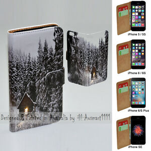 For Apple iPhone Series - Snow Forest Print Flip Wallet Mobile Phone Case Cover