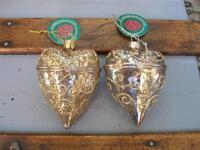 2 3.5 Mercury Glass Hinged Heart Box Christmas Ornaments 1 Gold & 1 Silver