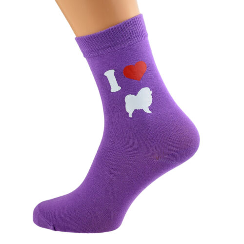 I Love Chow Chows Ladies Purple Dog Socks UK Size 4-8 X6N167