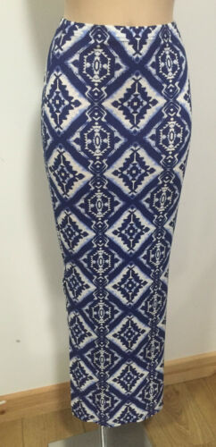 NEW BLUE AND WHITE PRINT SIDE SPLIT MAXI PENCIL WIGGLE SKIRT SIZE 6-14