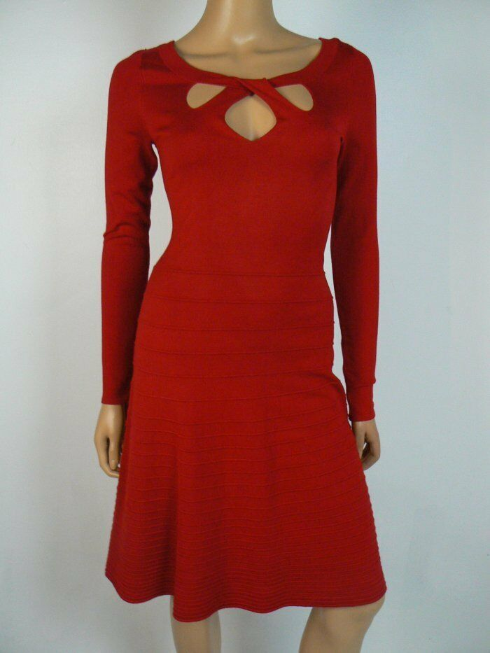 INC International Concepts Red Keyhole Fit & Flare Sweater Dress NEW I229