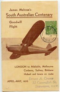 AUSTRALIA-1936-Centenary-Goodwill-Flight-4-page-leaflet-1d-pmk-ENMORE-cds-602a