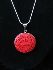 Feng Shui Cinnabar Chinese Coin Artisan Pendant Necklace SP Snake Chain A07-3