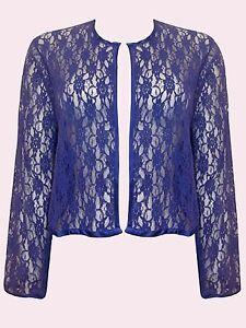 3fc2ddebc97e1 NEW Eaonplus BLUE Open Front Floral Lace Long sleeve Bolero Sizes UK ...