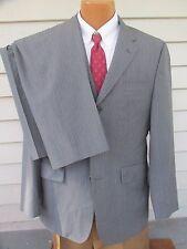 HUGO BOSS Sz 42R SHERLOCK Gray Striped WOOL 2Pc Three Button Men's Suit EUC