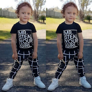 b525a8ee7 US Toddler Kids Baby Boy Outfits Clothes T-shirt Top+Plaid Pant ...
