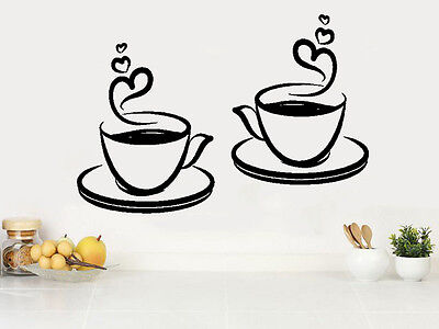 2 Coffee Tea Cups Kitchen Wall Stickers Cafe Vinyl Art Decals FCC05