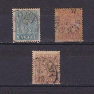 NORWAY-1863-Sc-8-10-CV-163-part-set-Used