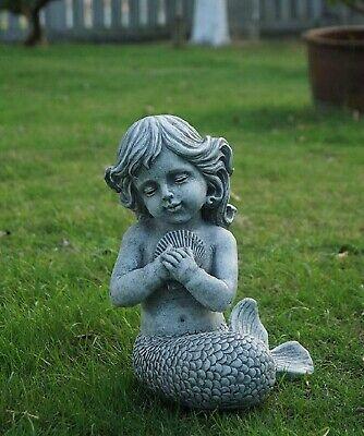 Nautical Garden Statue Sculpture Mermaid Kneeling Shell Ocean Lawn Ornament Gift Ebay