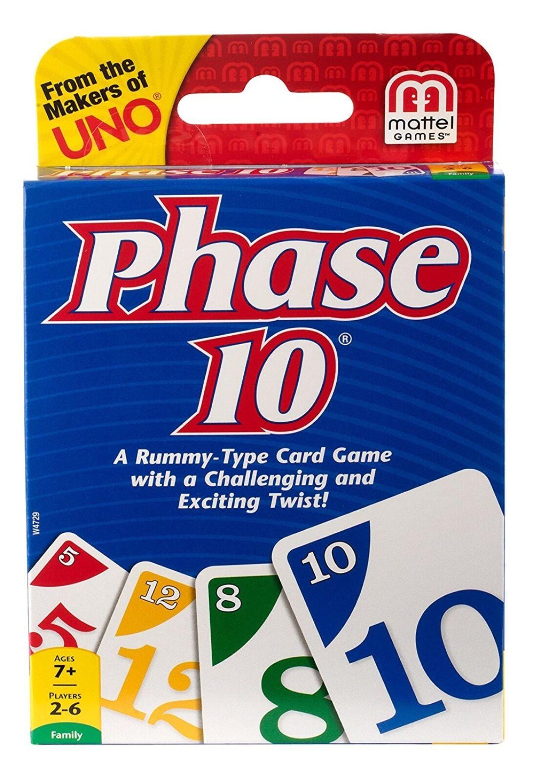 MATTEL fase 10 Rummy gioco di carte di tipo grande famiglia divertente stimolante eccitante gioco