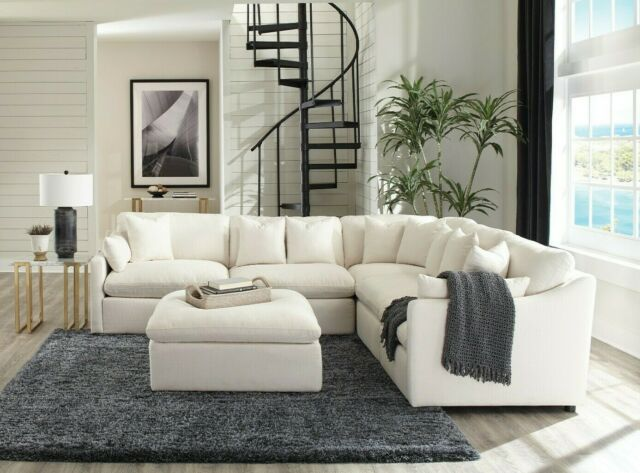Transitional Off White Linen Sofa