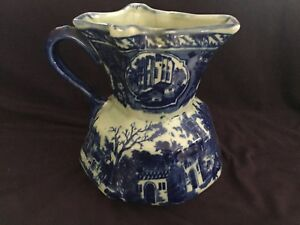 Extra-Large-Blue-and-White-Ironstone-China-Pitcher