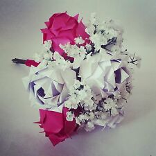 Origami roses baby's breath gypsophila paper flower bouquet wedding anniversary