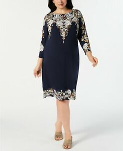 Details about JM Collection Women\'s Petite Plus Size Embellished Printed  Dress Size 3X Short