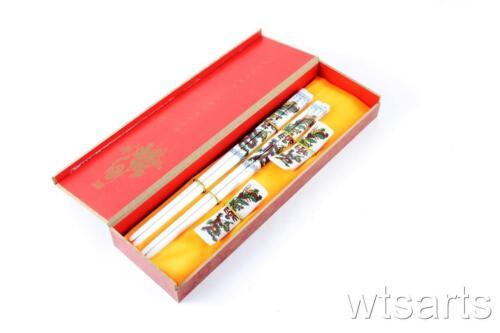 2 Paar Chinesisch Keramik Verpackt Stäbchen Geschenkset Dragon Phoenix,