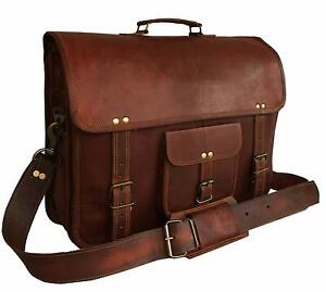 "Vintage Bull Leather Tote Mens Briefcase Laptop 18/"" Case Messenger Shoulder Bag"