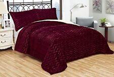 3 Piece Fur 3D Crafted Burgundy Plush Super Soft Sherpa Blanket King Size 8Ib
