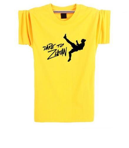 DARE TO ZLATAN Ibrahimovic T Shirt Men Short Sleeve Cotton Tops Tee T-shirt Ibra