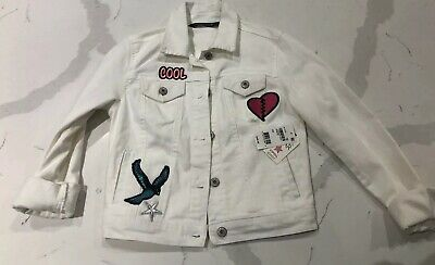 Boys and Girls Unisex Star Patched Distressed Denim Jacket